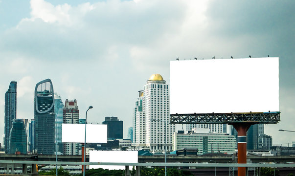 Billboard is blank and the view of a tall building in Bangkok Thailand, Cityscape backgrounds
