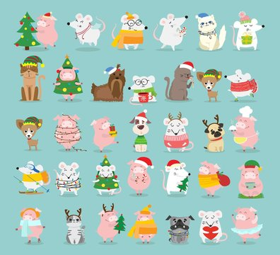 Vector illustration of christmas cats, rats, pigs and dogs with Christmas and new year greetings. Cute pets with holiday hats