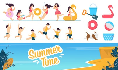 Happy Children Characters and Summer Rest Set