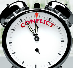 Conflict soon, almost there, in short time - a clock symbolizes a reminder that Conflict is near, will happen and finish quickly in a little while, 3d illustration