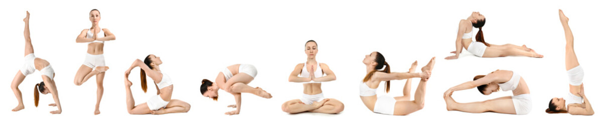 In de dag Ontspanning Collage with sporty woman practicing yoga on white background