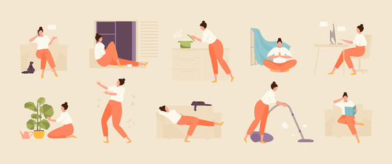 Girl character spends time at home. Home life and leisure set. Vector flat illustration Fotomurales