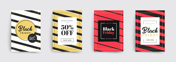 Set of black friday sale brochures templates. Stripes covers design. Trendy colorful bubble shapes composition. Vector backgrounds. Applicable for covers, placards, posters, flyers and banner designs.