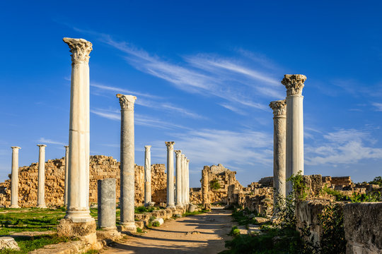 Rows of ancient columns at Salamis, Greek and Roman archaeological site, Famagusta, North Cyprus