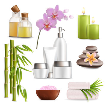 Spa salon accessories set, vector realistic isolated illustration