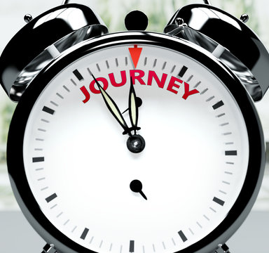 Journey soon, almost there, in short time - a clock symbolizes a reminder that Journey is near, will happen and finish quickly in a little while, 3d illustration