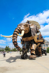Nantes, France. The Great Elephant of Machines of the Isle of Nantes : artistic, touristic and cultural project based in Nantes, France - June 2019