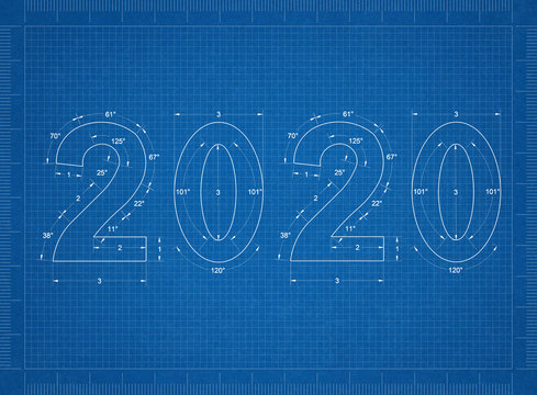New Year 2020 blueprint - background
