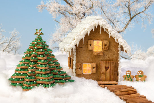 Snowscape with edible gingerbread house