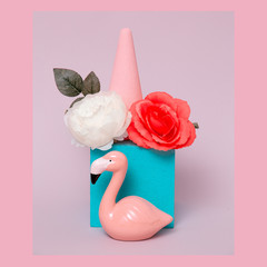 Flamingo in geometric flowers space. Minimal art. Pink tropical vibes
