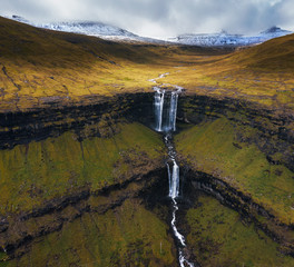 Aerial view of the Fossa Waterfall on island Bordoy in the Faroe Islands