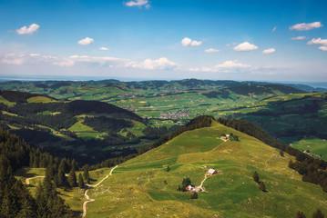 Panoramic views from the Ebenalp mountain in Switzerland