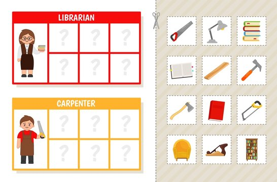 Matching children educational game. Learning cards. Match objects and professions. Activity for pre sсhool years kids and toddlers.