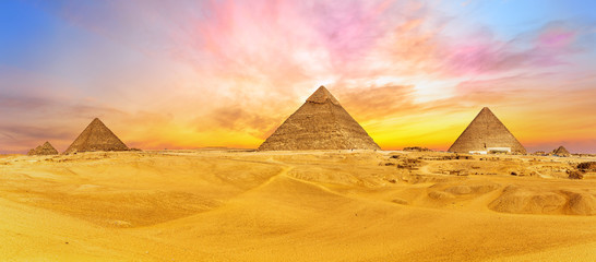 Bright colours of Giza desert, Cairo, Egypt