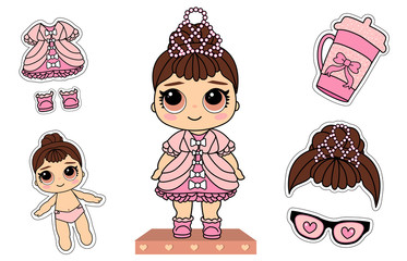 Cute vector little princess doll. Pink dress, white bows, glitter elegant pearl tiara. Surprised girl with brunette hair. Paper lol funny sticky cloth. Photo booth props: bottle, glasses heart eyes