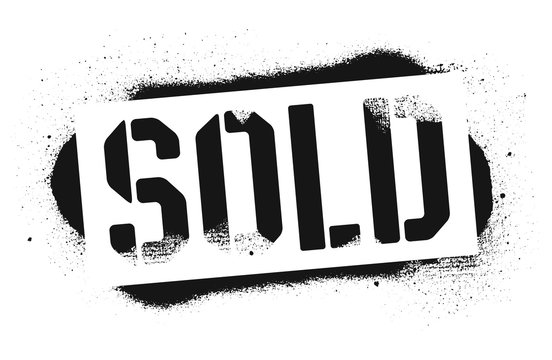 Stencil SOLD inscription. Black graffiti print on white background. Vector design street art