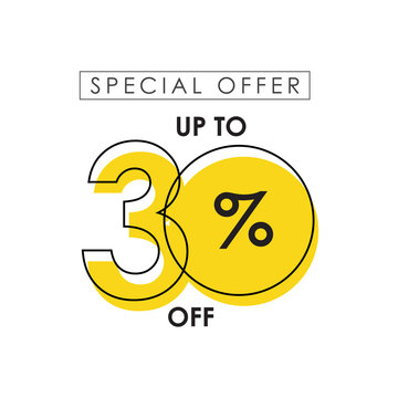 Discount up to 30% off Special Offer Vector Template Design Illustration