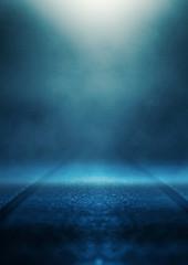 Empty background scene. Dark street reflection on wet asphalt. Rays of neon light in the dark, neon...