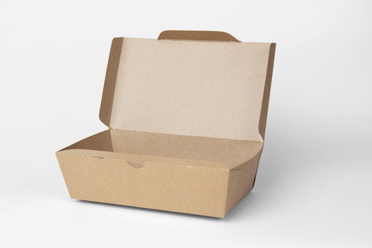 Brown paper food box isolated on white background with clipping path