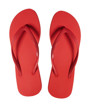 Red Flip Flops Isolated on White Background