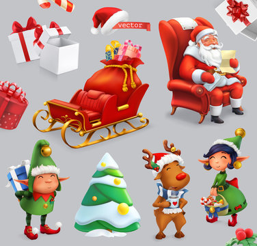 Christmas and New Year. Santa Claus, sleigh, gifts, deer, elves, christmas tree. 3d vector icon set