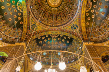 Intersection of four domes decorated with floral patterns, Muhammad Ali Mosque, Citadel of Cairo