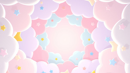 Pastel pink paper clouds and stars. 3d rendering picture.