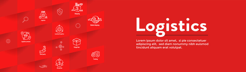 Logistics icon set and web header banner with buildings, trucking, people and shipping box