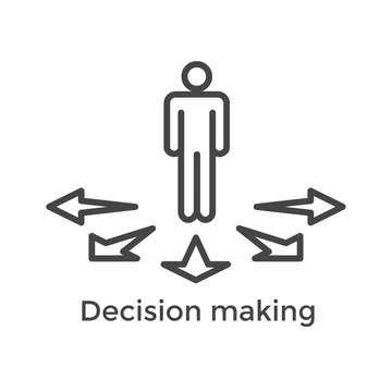 Arrow, directional way sign depicting making a decision or choice icon vector
