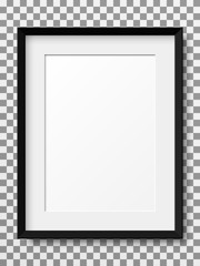 Realistic vertical picture frame isolated on transparent background.