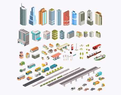 set isometric city building, transportation, houses and public area vector illustration