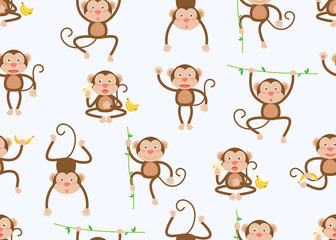 Seamless pattern of cute little monkeys cartoon in different poses on white background - Vector illustration