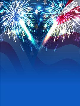 Fireworks background for 4th of July celebration.
