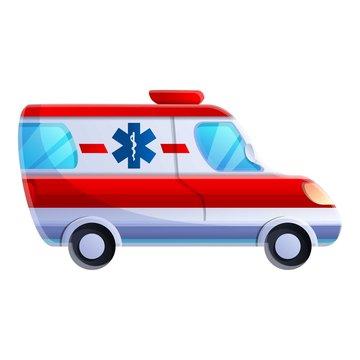 Ambulance car icon. Cartoon of ambulance car vector icon for web design isolated on white background
