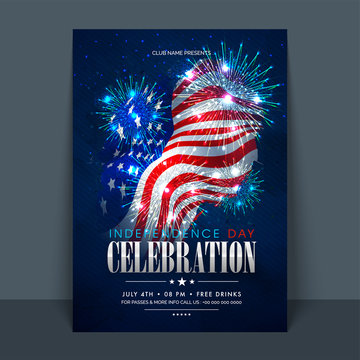American Independence Day Flyer with fireworks.