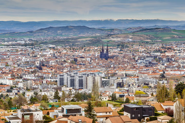 Fototapete - Aerial view of Clermont-Ferrand, France