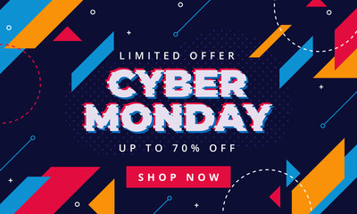 Cyber Monday Sale abstract background. For advertising poster or banner design with blue purple background