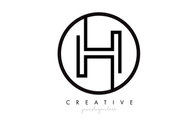 H Letter Icon Logo Design With Monogram Creative Look. Letter Circle Line Design