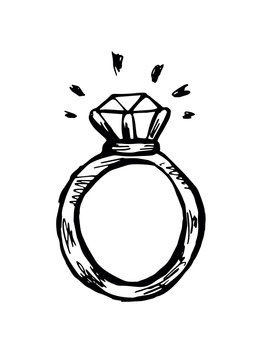 A ring with a diamond. Black and white contour doodle illustration isolated. EPS 10 vector