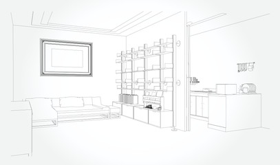 Linear sketch of an interior. Sketch Line living room . Vector illustration.outline sketch drawing perspective of a interior space