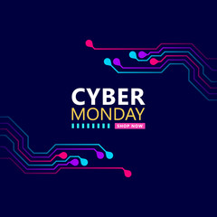 Cyber monday sale with circuit board background. Promotional online sale event. vector illustration