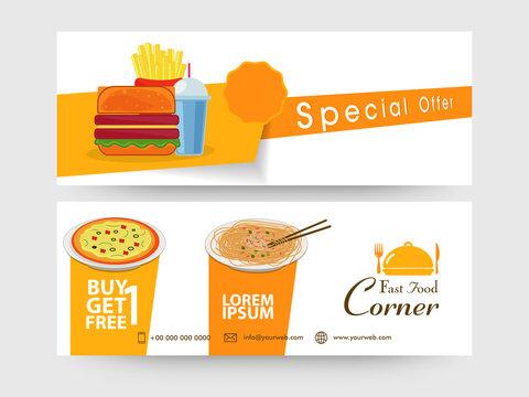 Food website header or banner set.