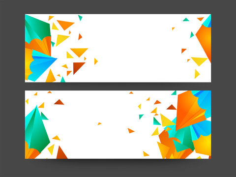 Website headers with colorful abstract design.