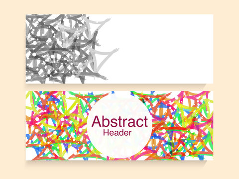 Colorful abstract web headers set.