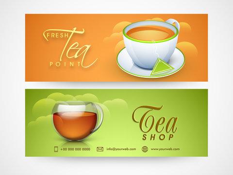 Tea Shop website headers set.
