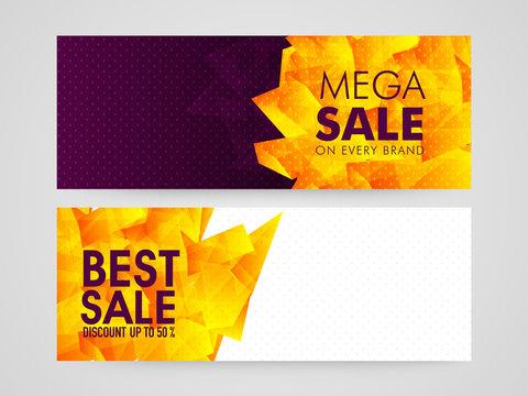 Mega Sale web headers or banners set.