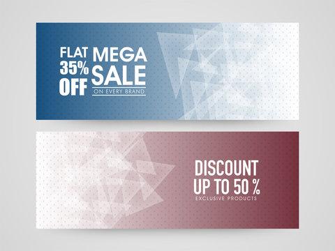 Mega Sale and Discount web headers set.