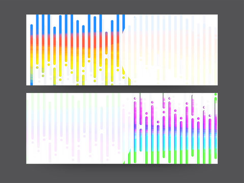 Website headers with colorful lines.