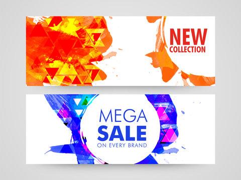 Abstract web headers of Mega Sale.