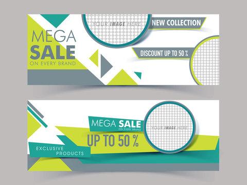 Creative web headers for Mega Sale.